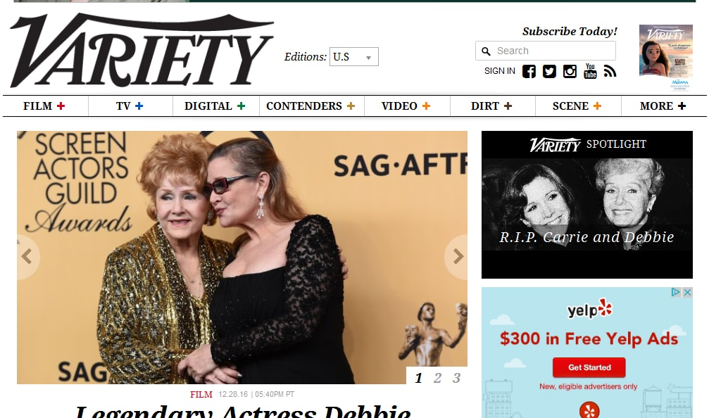 variety website running on wordpress